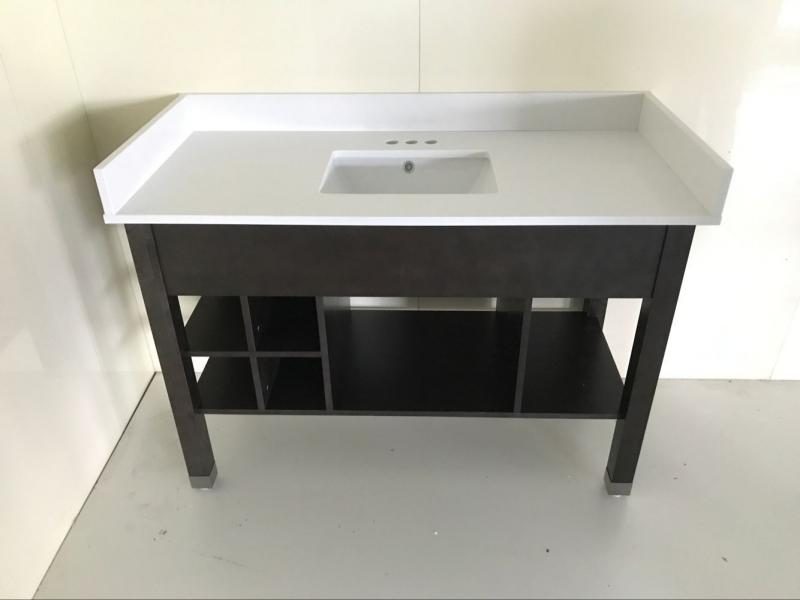 "new ""L"" cubby vanity base with quartz top shown"